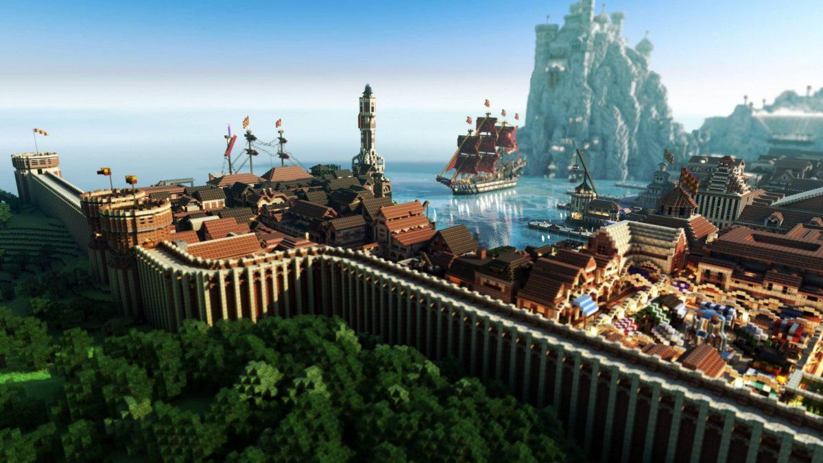 Fond d'écran Minecraft : Une ville portuaire