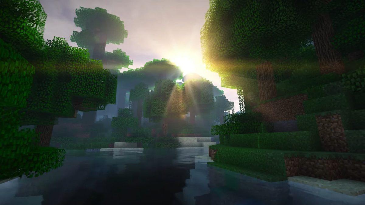 Kuda Shaders avec le soleil sur la cime des arbres