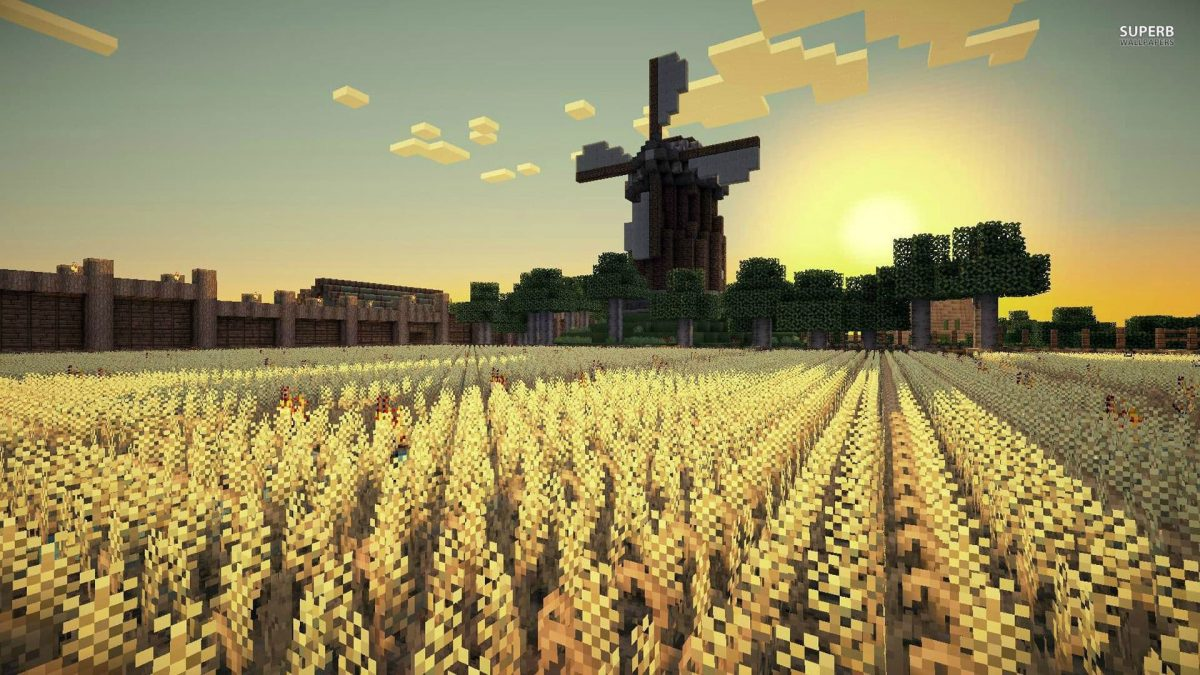 Fond d'écran Minecraft champs de blé et moulin