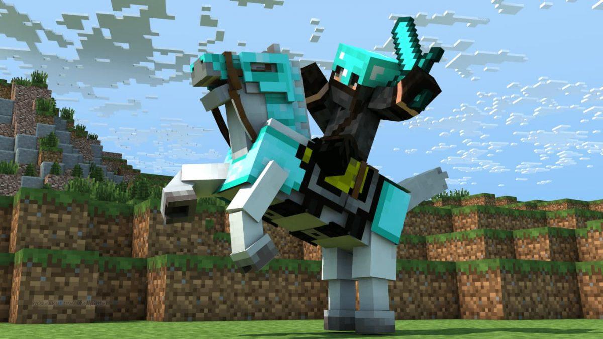 Fond d'écran Minecraft cheval et cavalier armure diamant