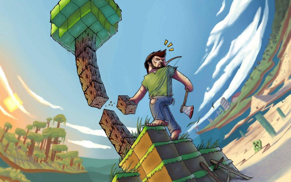 Fond d'écran Minecraft : dessin steve réaliste