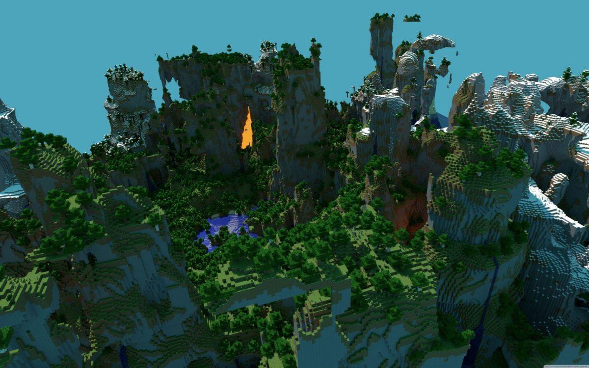 Fond d'écran Minecraft falaise et lave
