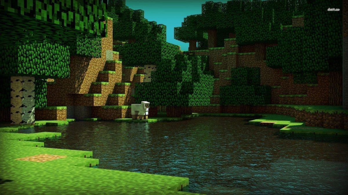 Fond d'écran Minecraft lac et mouton