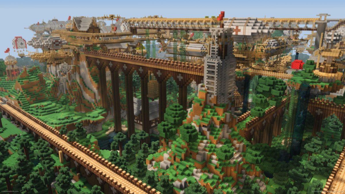 Fond d'écran Minecraft ville en bois