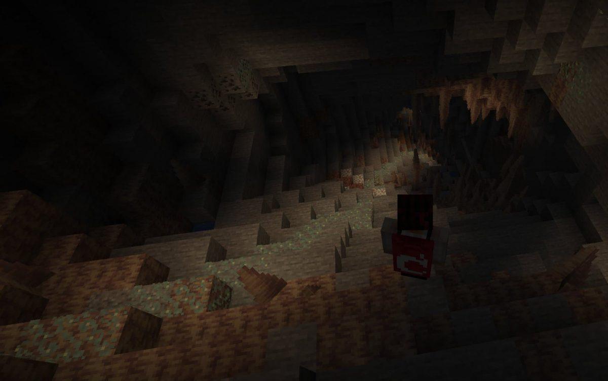 lichen lumineux dans une grotte dans minecraft