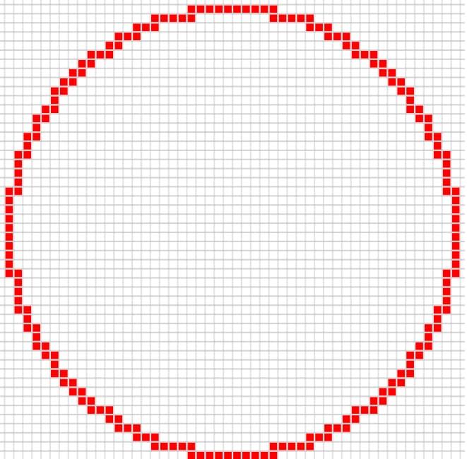 Cercle minecraft épais 50 par 50