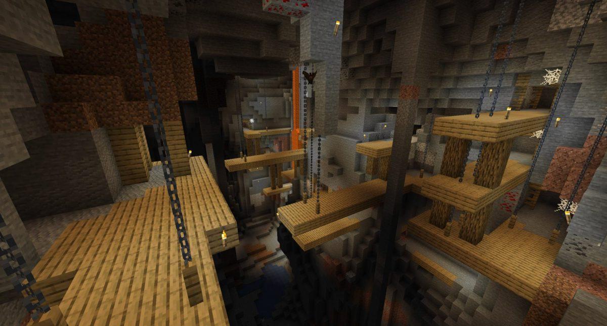 Chaine et pilier de bois pour les puits de mines