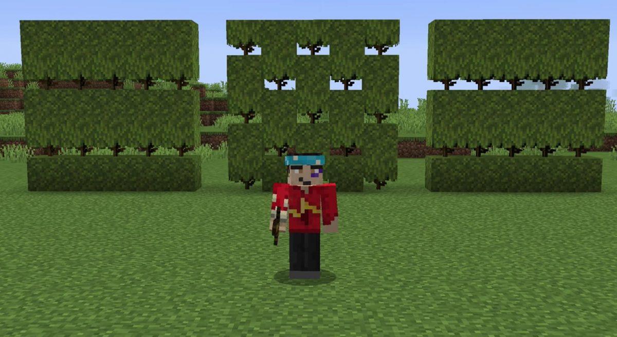 Minecraft 1.17 décoration : haies avec la mousse