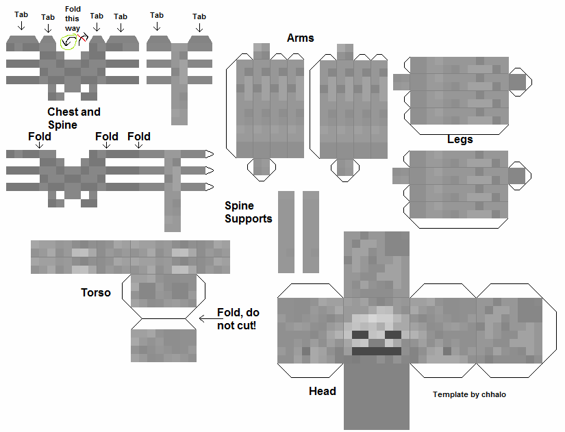 papercraft minecraft squelette