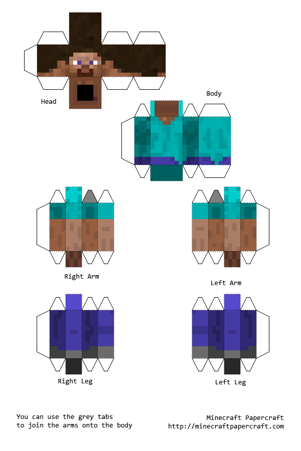papercraft minecraft steve