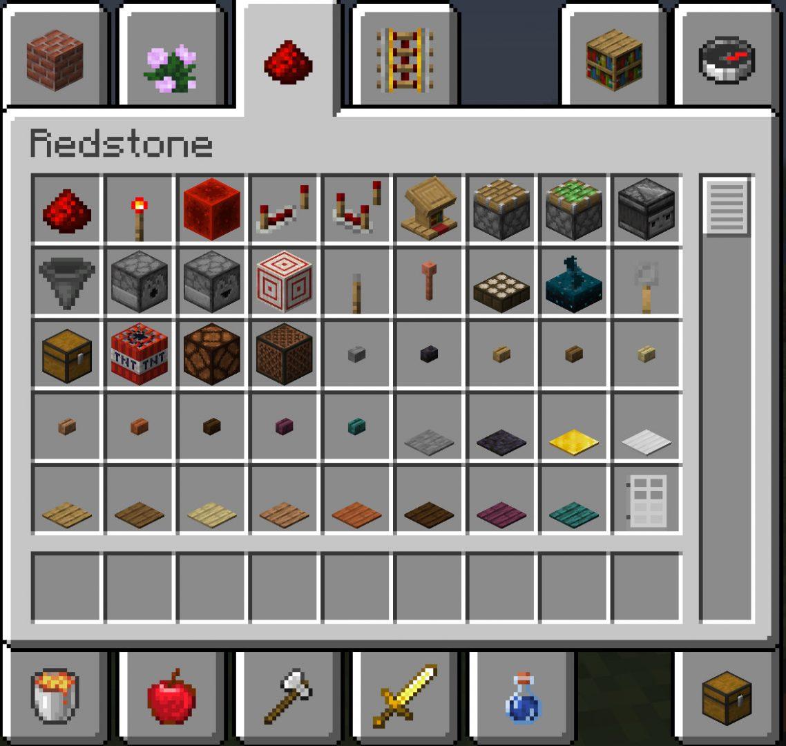 Inventaire redstone créatif