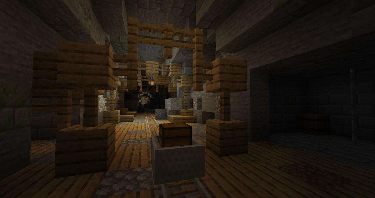 Un puits de mine de chêne normal