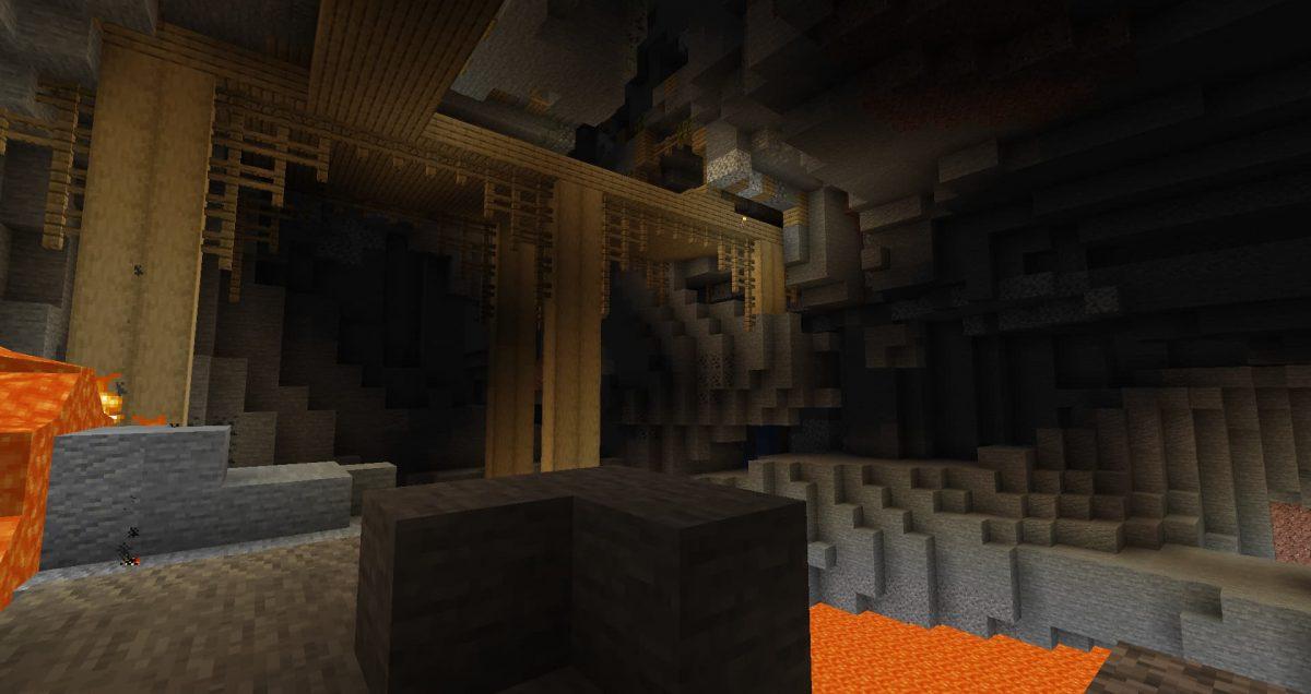 Un puits de mine en chêne dans une caverne de meilleure qualité