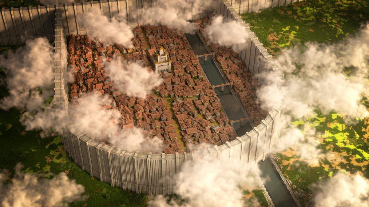 District Shiganshina Attaque des Titan Map Minecraft