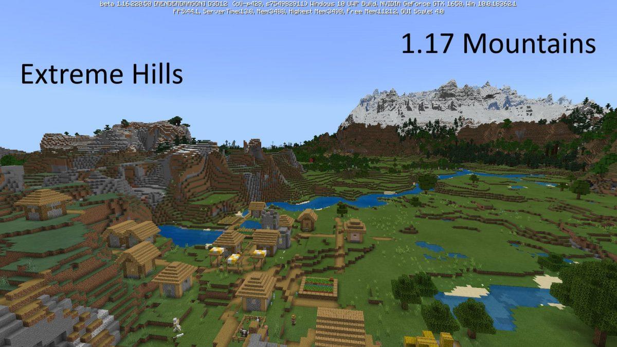 comparaison anciennes et nouvelles montagnes minecraft 1.17 beta
