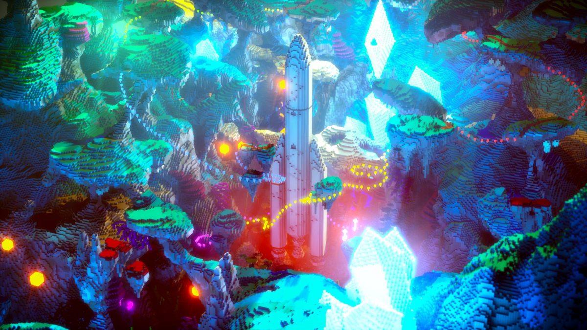 Fond d'écran Minecraft fusée ariane dans l'espace