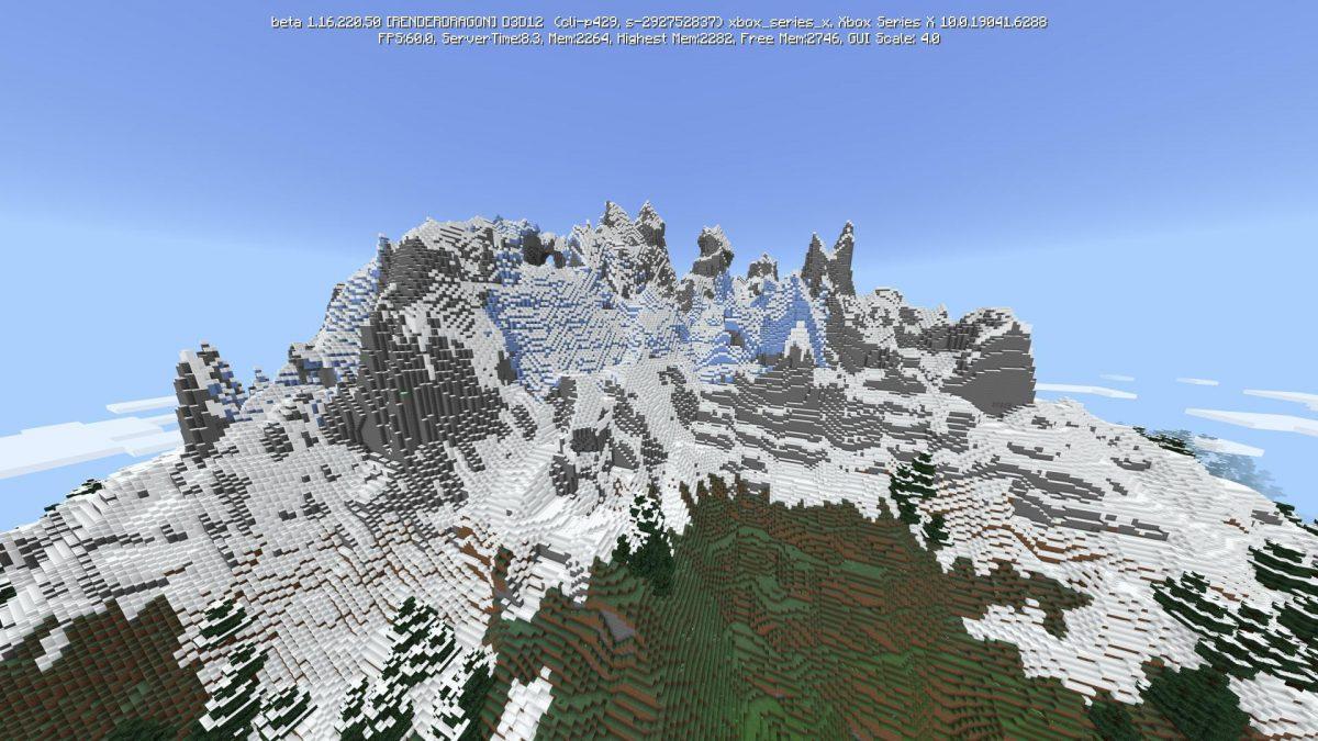 Nouvelle montagne minecraft beta 1.17 vue loin