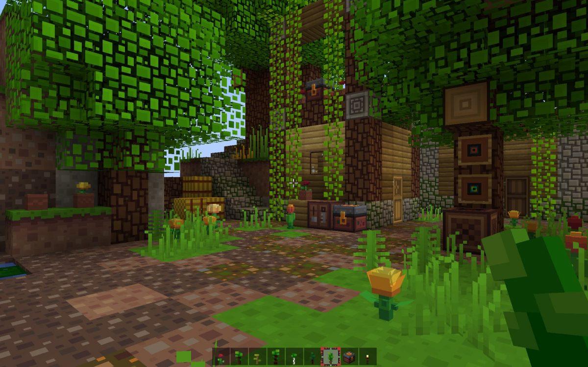 Une maison dans la forêt avec le pack de texture Block Pixel