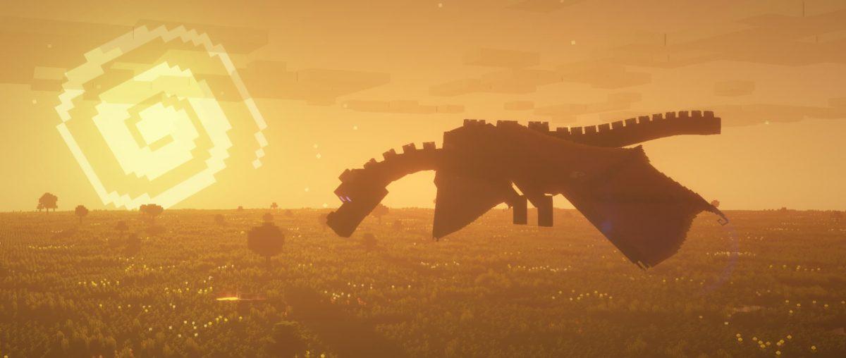Soleil couchant et Ender dragon avec le pack Dandelion X