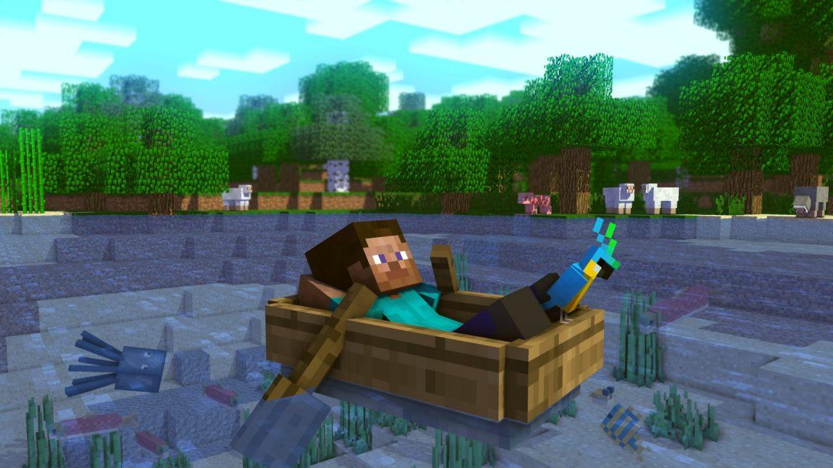 fond d'écran de minecraft steve perroquet relax