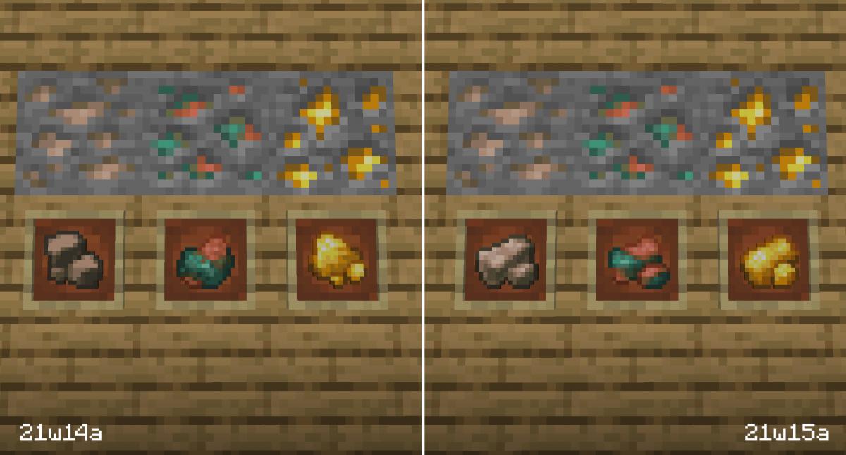 Nouvelle textures pour les minerais bruts dans la snapshot 21w15a