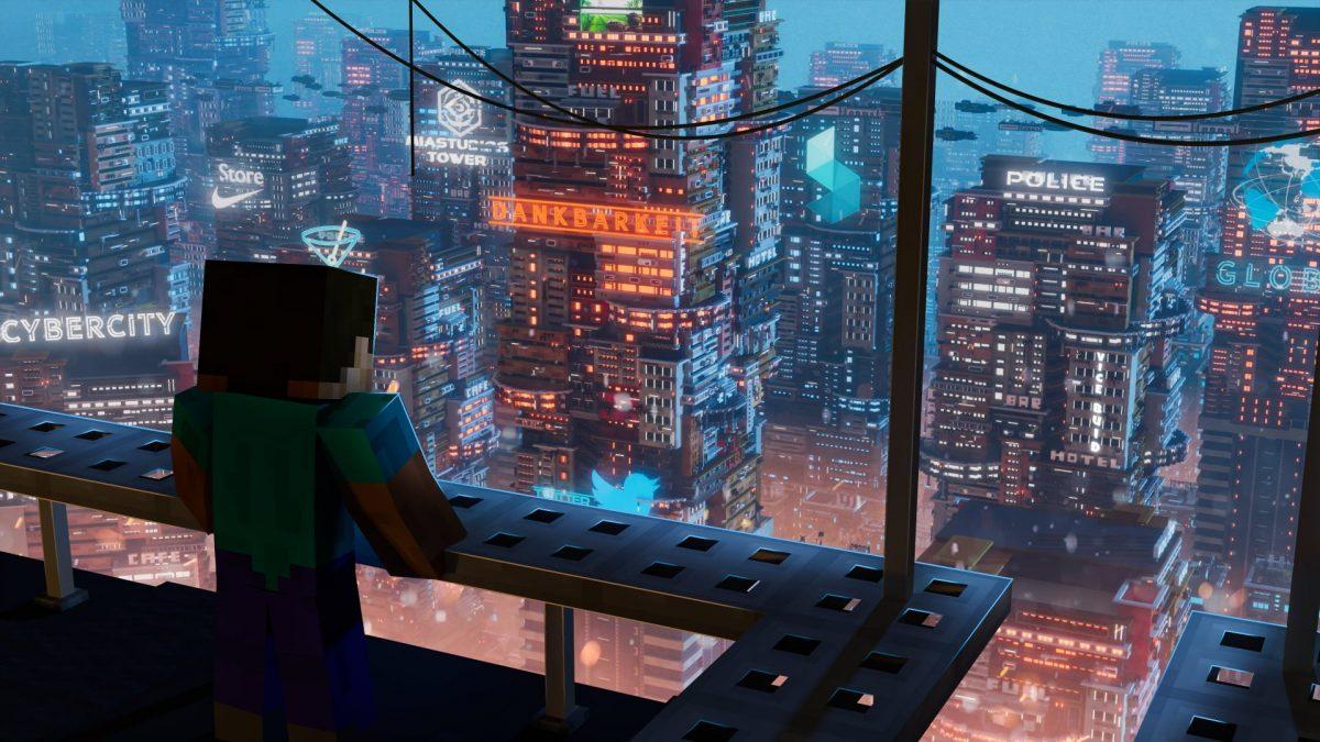 fond d'écran de minecraft ville futuriste render