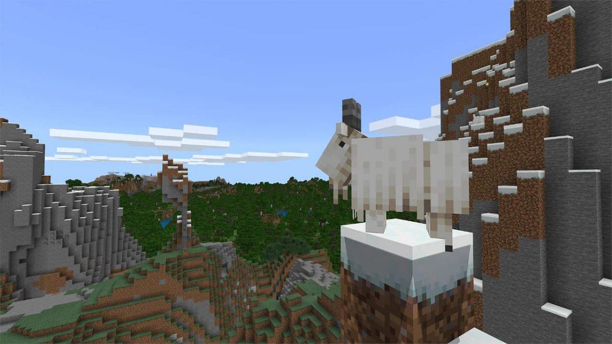 Une chèvre dans Minecraft 1.17