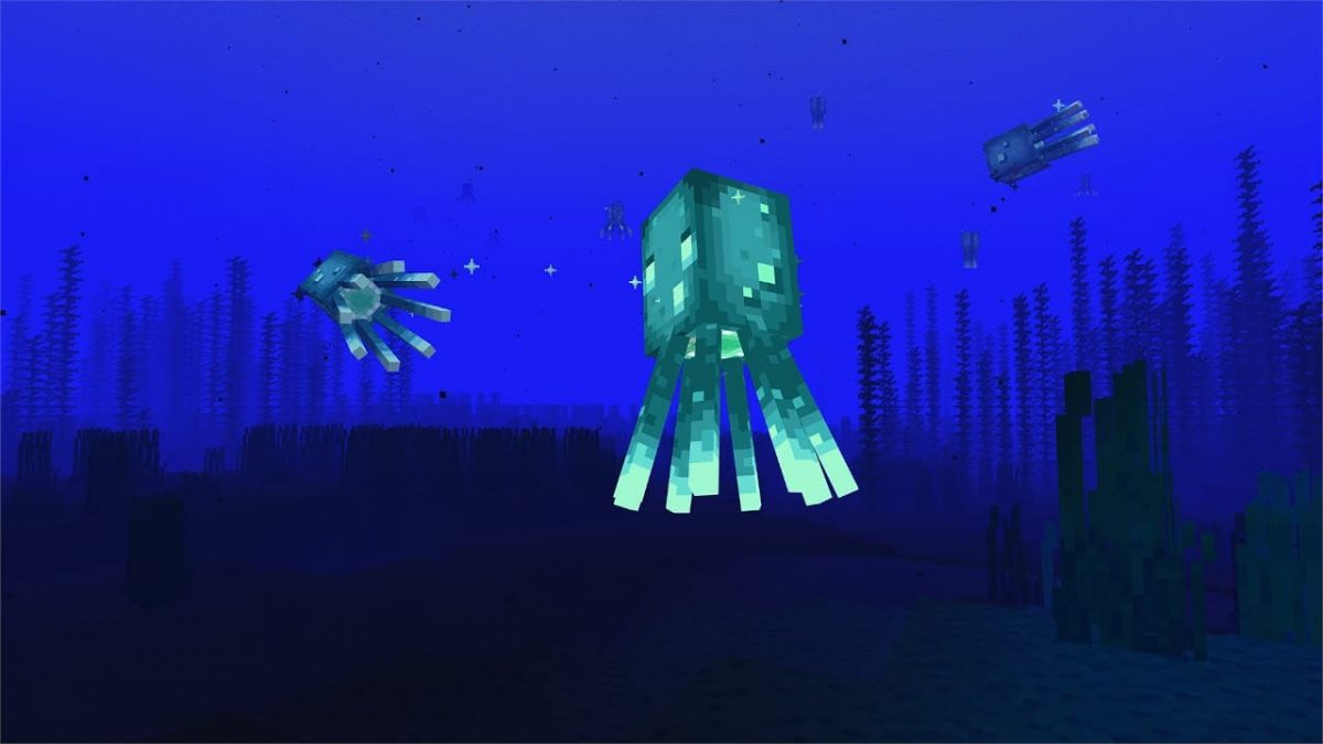 Une pieuvre lumineuse dans Minecraft 1.17