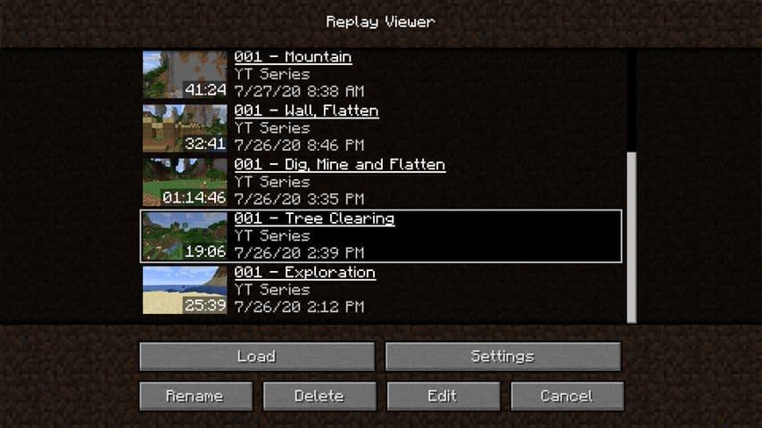 replay mod enregistrements liste
