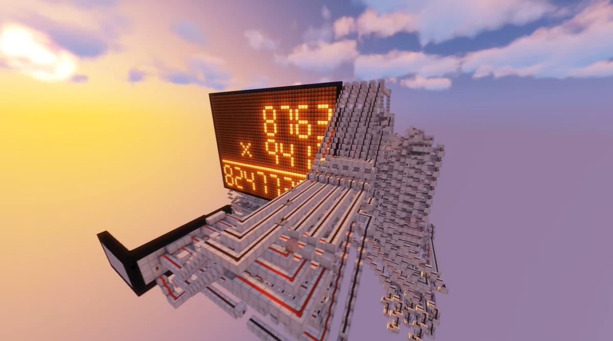 L'écran et le système en redstone de la calculatrice dans Minecraft