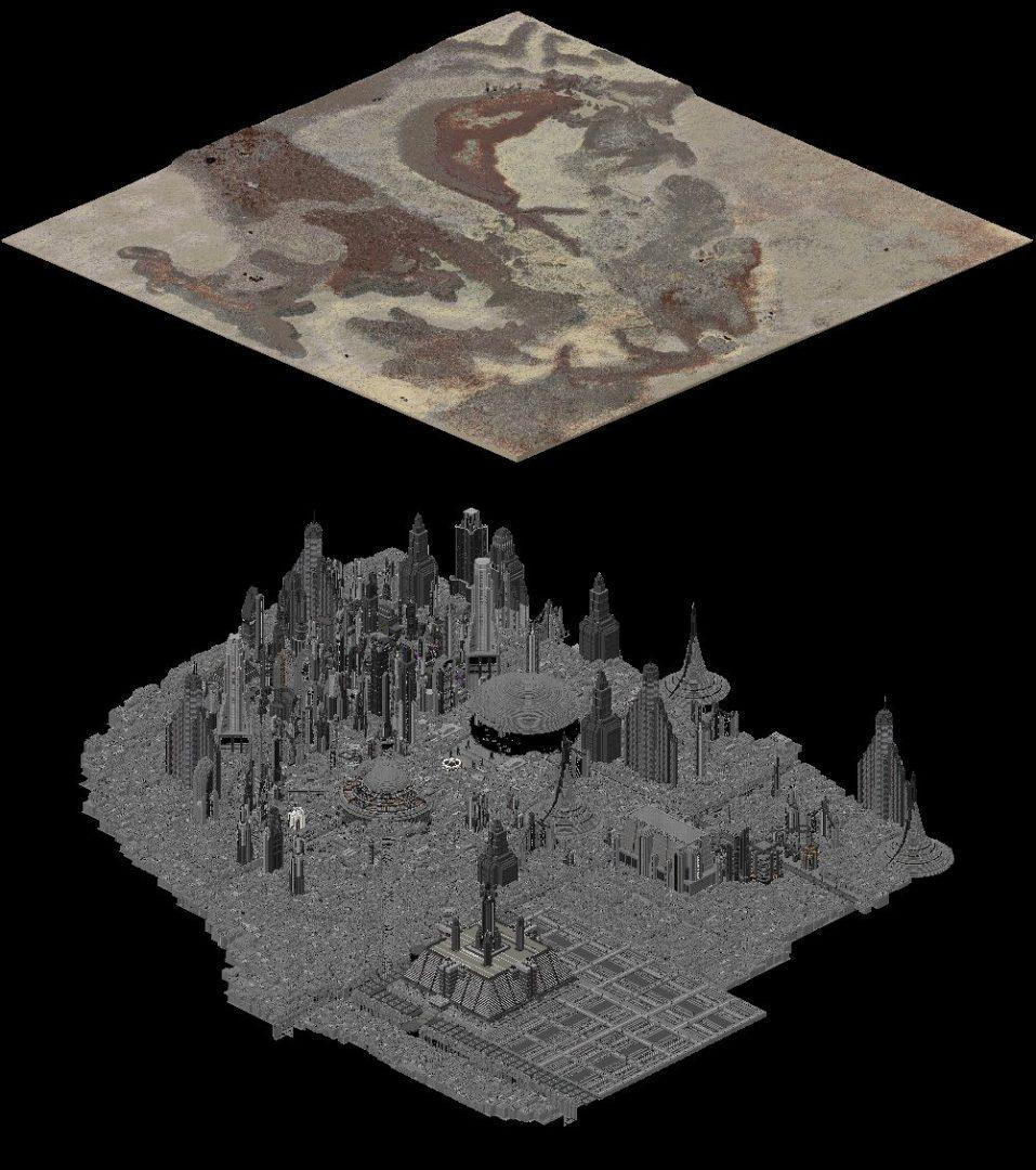 Vue isométrique des villes de Tatooine et Coruscant dans Minecraft