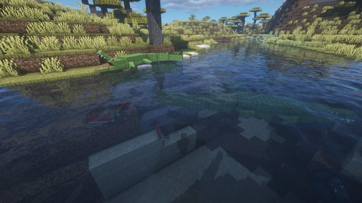 Deux crocodiles, l'un se prélassant et l'autre chassant, vivent dans une rivière.